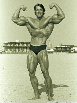 Arnold Schwarzenegger flexing biceps on beach - Arnold's Winter Mass-Packing Workout