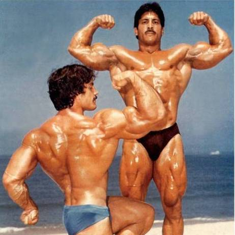 Ray and Mike Mentzer on the beach
