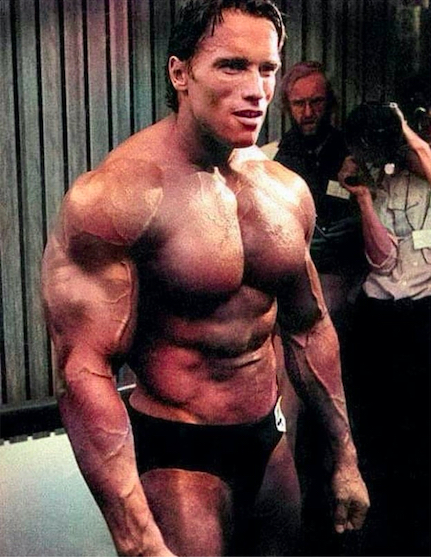 Arnold backstage at the 1980 Mr. Olympia